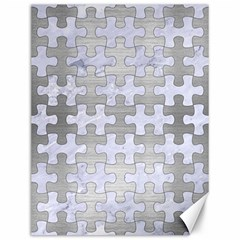 Puzzle1 White Marble & Silver Brushed Metal Canvas 12  X 16   by trendistuff