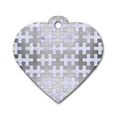 Puzzle1 White Marble & Silver Brushed Metal Dog Tag Heart (two Sides) by trendistuff