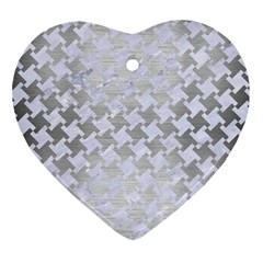 Houndstooth2 White Marble & Silver Brushed Metal Ornament (heart) by trendistuff
