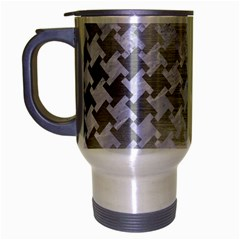 Houndstooth2 White Marble & Silver Brushed Metal Travel Mug (silver Gray) by trendistuff