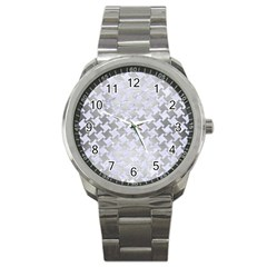 Houndstooth2 White Marble & Silver Brushed Metal Sport Metal Watch by trendistuff