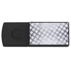 Houndstooth2 White Marble & Silver Brushed Metal Rectangular Usb Flash Drive by trendistuff