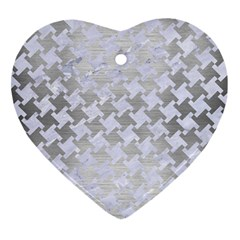 Houndstooth2 White Marble & Silver Brushed Metal Heart Ornament (two Sides) by trendistuff