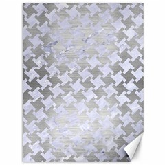 Houndstooth2 White Marble & Silver Brushed Metal Canvas 36  X 48   by trendistuff