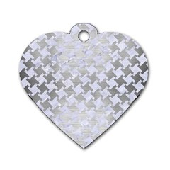 Houndstooth2 White Marble & Silver Brushed Metal Dog Tag Heart (two Sides)