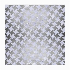 Houndstooth2 White Marble & Silver Brushed Metal Medium Glasses Cloth