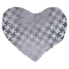 Houndstooth2 White Marble & Silver Brushed Metal Large 19  Premium Heart Shape Cushions by trendistuff