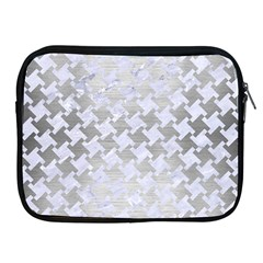 Houndstooth2 White Marble & Silver Brushed Metal Apple Ipad 2/3/4 Zipper Cases by trendistuff