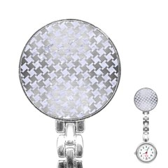 Houndstooth2 White Marble & Silver Brushed Metal Stainless Steel Nurses Watch by trendistuff