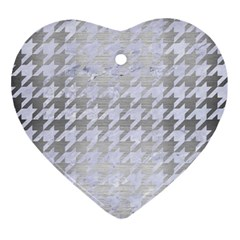 Houndstooth1 White Marble & Silver Brushed Metal Ornament (heart) by trendistuff