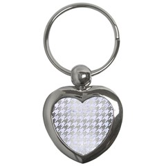 Houndstooth1 White Marble & Silver Brushed Metal Key Chains (heart)  by trendistuff
