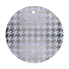 Houndstooth1 White Marble & Silver Brushed Metal Round Ornament (two Sides) by trendistuff