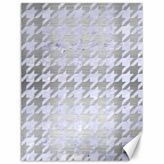 Houndstooth1 White Marble & Silver Brushed Metal Canvas 12  X 16   by trendistuff