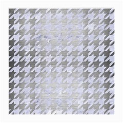 Houndstooth1 White Marble & Silver Brushed Metal Medium Glasses Cloth by trendistuff