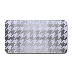 Houndstooth1 White Marble & Silver Brushed Metal Medium Bar Mats