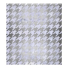 Houndstooth1 White Marble & Silver Brushed Metal Shower Curtain 66  X 72  (large)  by trendistuff