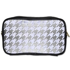 Houndstooth1 White Marble & Silver Brushed Metal Toiletries Bags 2 Side by trendistuff