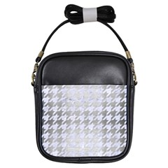 Houndstooth1 White Marble & Silver Brushed Metal Girls Sling Bags by trendistuff