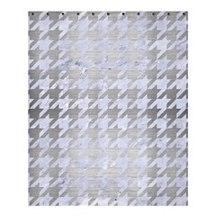 Houndstooth1 White Marble & Silver Brushed Metal Shower Curtain 60  X 72  (medium)  by trendistuff