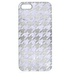 Houndstooth1 White Marble & Silver Brushed Metal Apple Iphone 5 Hardshell Case With Stand by trendistuff