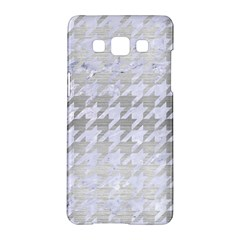 Houndstooth1 White Marble & Silver Brushed Metal Samsung Galaxy A5 Hardshell Case  by trendistuff