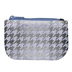 Houndstooth1 White Marble & Silver Brushed Metal Large Coin Purse by trendistuff