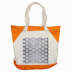 Hexagon2 White Marble & Silver Brushed Metal (r) Accent Tote Bag by trendistuff