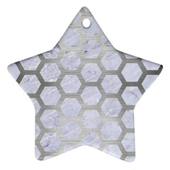 Hexagon2 White Marble & Silver Brushed Metal (r) Star Ornament (two Sides)