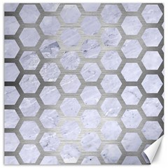 Hexagon2 White Marble & Silver Brushed Metal (r) Canvas 20  X 20   by trendistuff