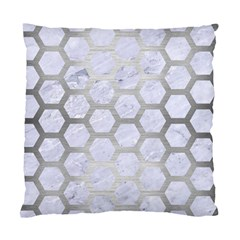 Hexagon2 White Marble & Silver Brushed Metal (r) Standard Cushion Case (two Sides)