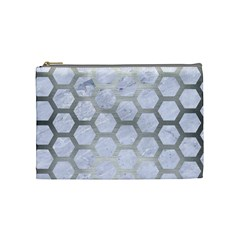 Hexagon2 White Marble & Silver Brushed Metal (r) Cosmetic Bag (medium)  by trendistuff