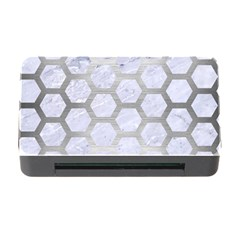 Hexagon2 White Marble & Silver Brushed Metal (r) Memory Card Reader With Cf by trendistuff