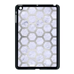 Hexagon2 White Marble & Silver Brushed Metal (r) Apple Ipad Mini Case (black) by trendistuff