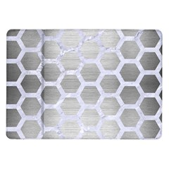 Hexagon2 White Marble & Silver Brushed Metal Samsung Galaxy Tab 10 1  P7500 Flip Case by trendistuff