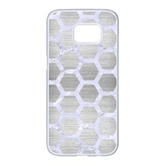 Hexagon2 White Marble & Silver Brushed Metal Samsung Galaxy S7 Edge White Seamless Case