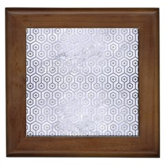 Hexagon1 White Marble & Silver Brushed Metal (r) Framed Tiles by trendistuff