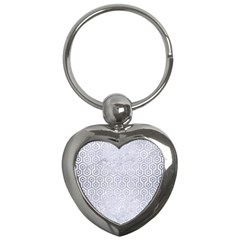 Hexagon1 White Marble & Silver Brushed Metal (r) Key Chains (heart)  by trendistuff