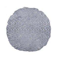 Hexagon1 White Marble & Silver Brushed Metal (r) Standard 15  Premium Round Cushions by trendistuff