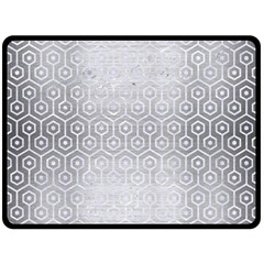 Hexagon1 White Marble & Silver Brushed Metal Fleece Blanket (large)  by trendistuff