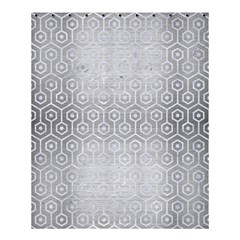Hexagon1 White Marble & Silver Brushed Metal Shower Curtain 60  X 72  (medium)  by trendistuff