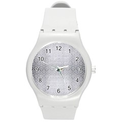 Hexagon1 White Marble & Silver Brushed Metal Round Plastic Sport Watch (m) by trendistuff