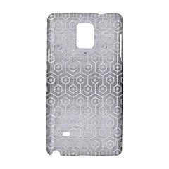 Hexagon1 White Marble & Silver Brushed Metal Samsung Galaxy Note 4 Hardshell Case by trendistuff