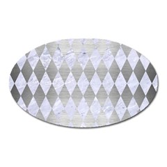 Diamond1 White Marble & Silver Brushed Metal Oval Magnet by trendistuff