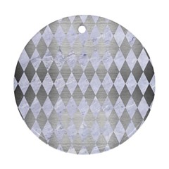 Diamond1 White Marble & Silver Brushed Metal Round Ornament (two Sides) by trendistuff