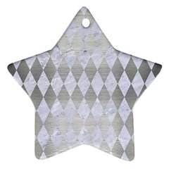 Diamond1 White Marble & Silver Brushed Metal Star Ornament (two Sides)
