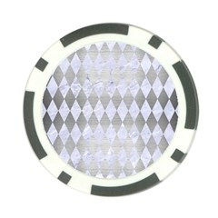 Diamond1 White Marble & Silver Brushed Metal Poker Chip Card Guard by trendistuff