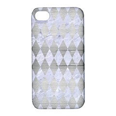 Diamond1 White Marble & Silver Brushed Metal Apple Iphone 4/4s Hardshell Case With Stand by trendistuff