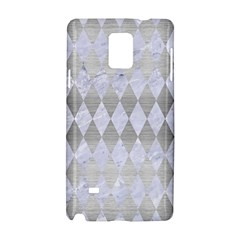 Diamond1 White Marble & Silver Brushed Metal Samsung Galaxy Note 4 Hardshell Case by trendistuff