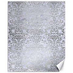 Damask2 White Marble & Silver Brushed Metal (r) Canvas 11  X 14   by trendistuff