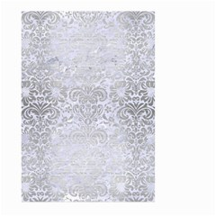 Damask2 White Marble & Silver Brushed Metal (r) Large Garden Flag (two Sides) by trendistuff